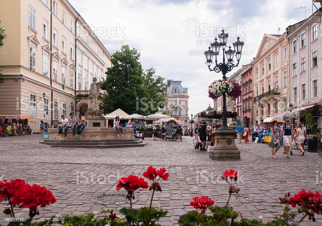 Market Square in Lviv Ukraine stock photo
