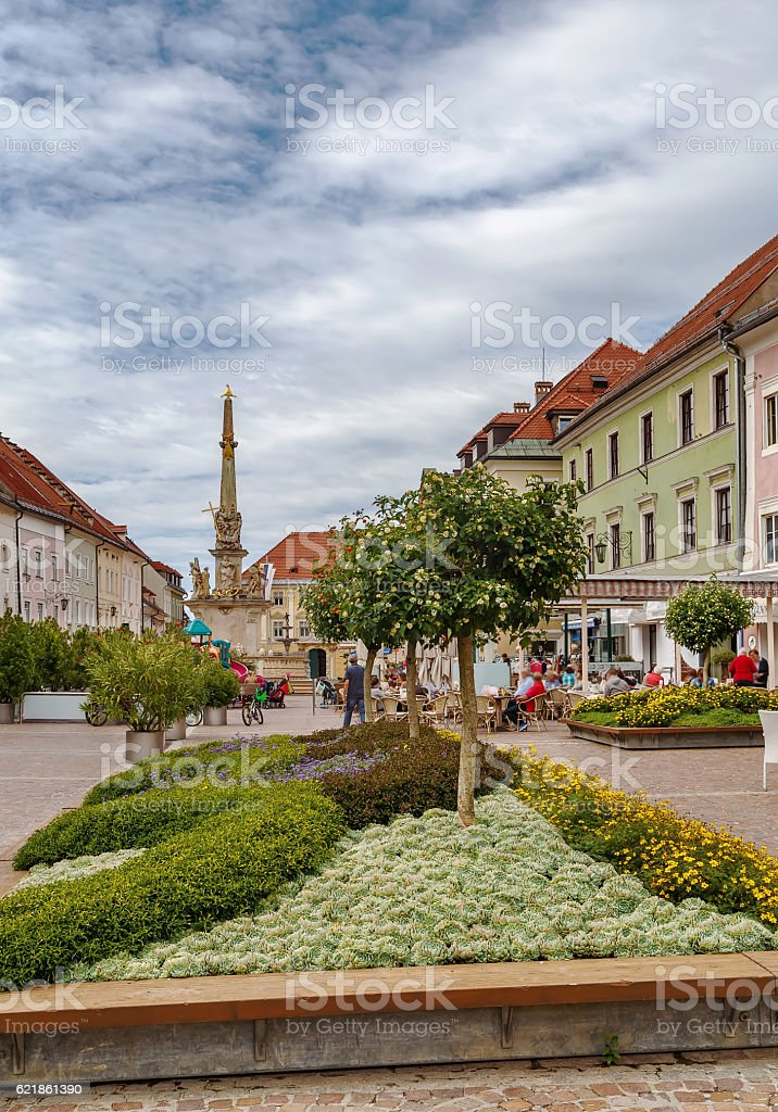 Market square in Sankt Veit an der Glan, Austria stock photo