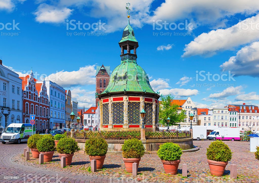 Market Square in the Old Town of Wismar, Germany stock photo