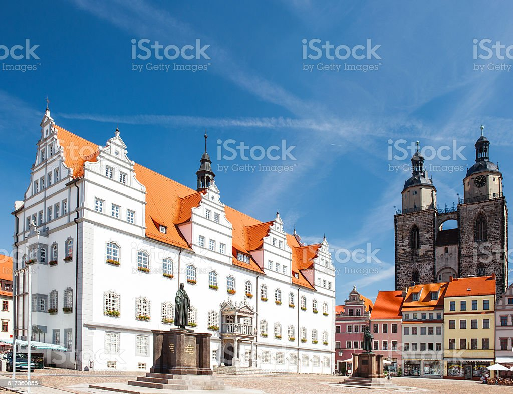 Market square in Wittenberg Monument of Martin Luther stock photo