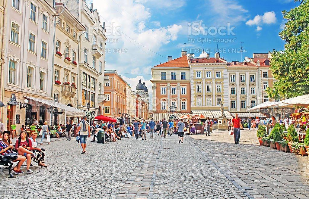 Market square, Lviv, Ukraine stock photo