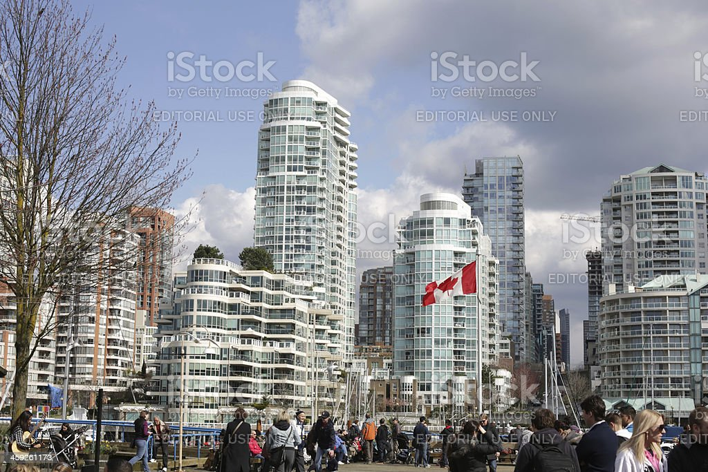 Market Square on Granville Island and Vancouver High-Rises in Spring royalty-free stock photo