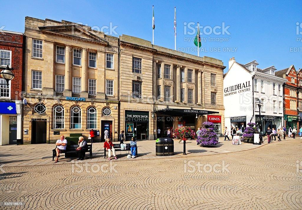 Market Square shops, Stafford. stock photo