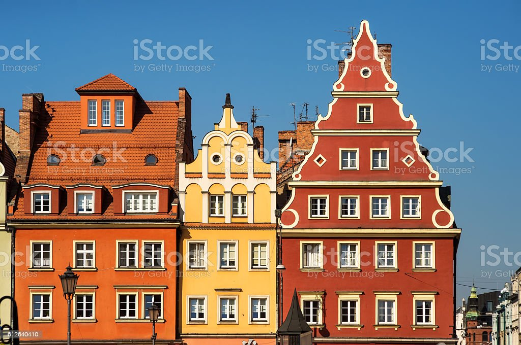 Market square tenements, Wroclaw Poland stock photo