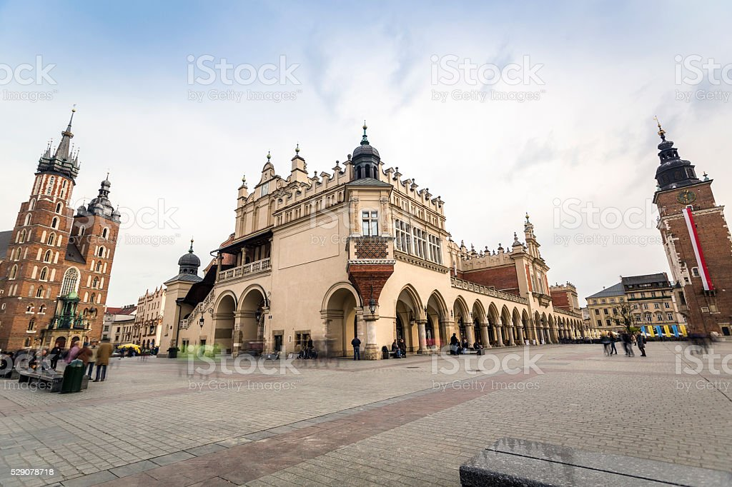 Market square with historic buildings in Krakow stock photo