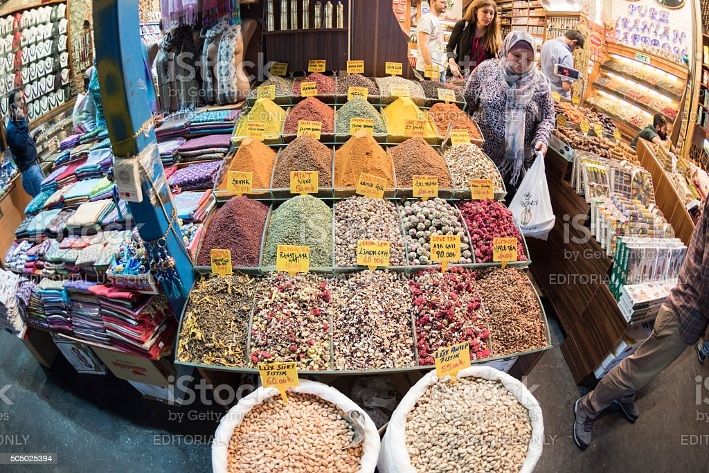 Market stall at the Spice Bazaar in Istanbul, Turkey stock photo