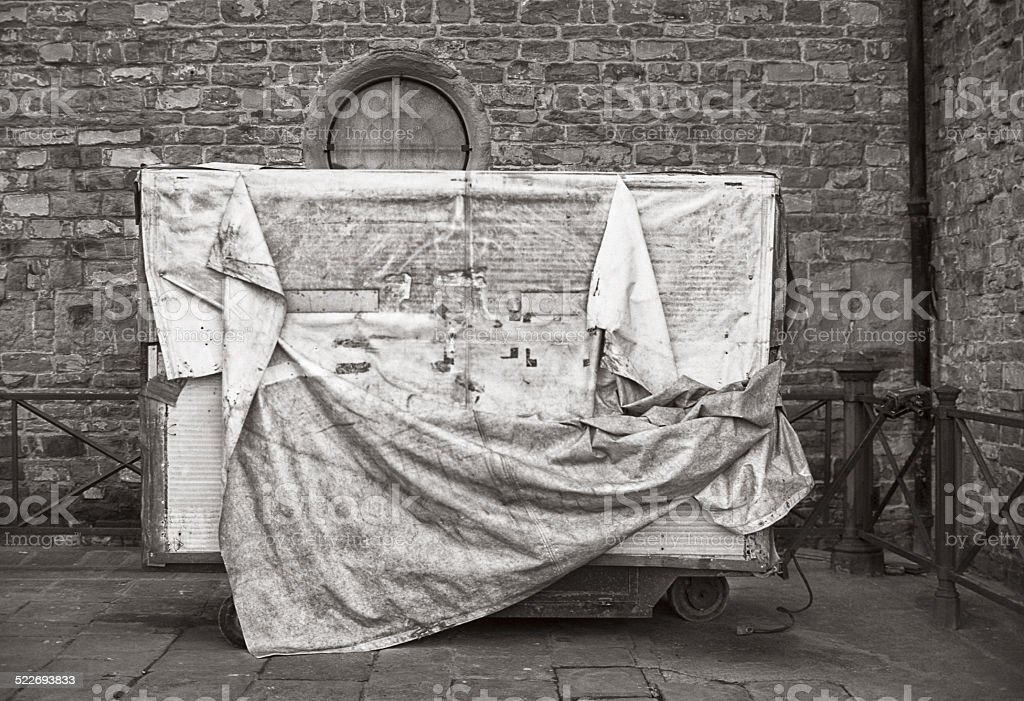 Market stall covered and wrapped, Florence stock photo