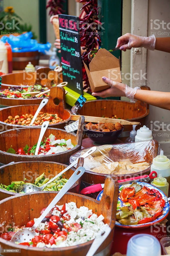 market stall in Bristol, England stock photo