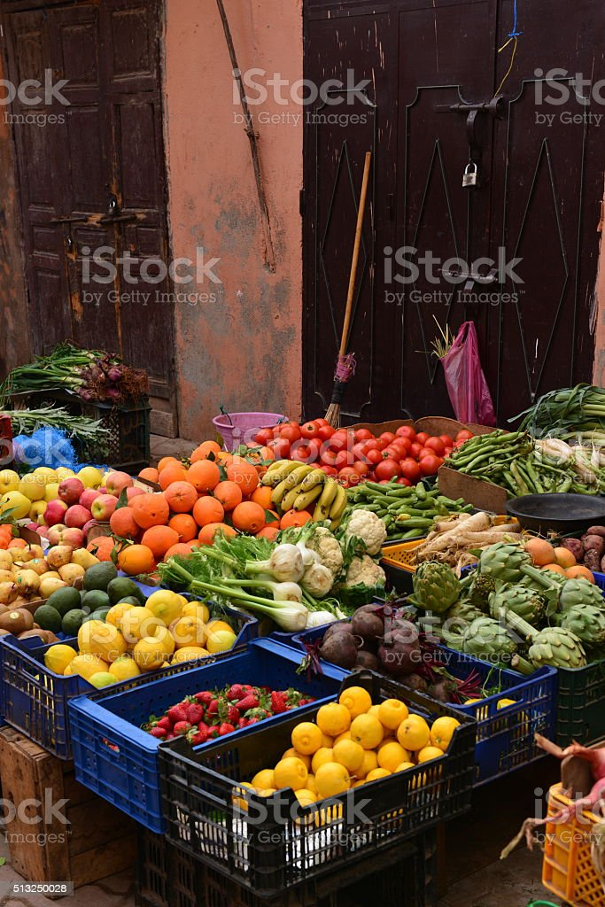 Market stall, Marrakech, Morocco, Africa. stock photo