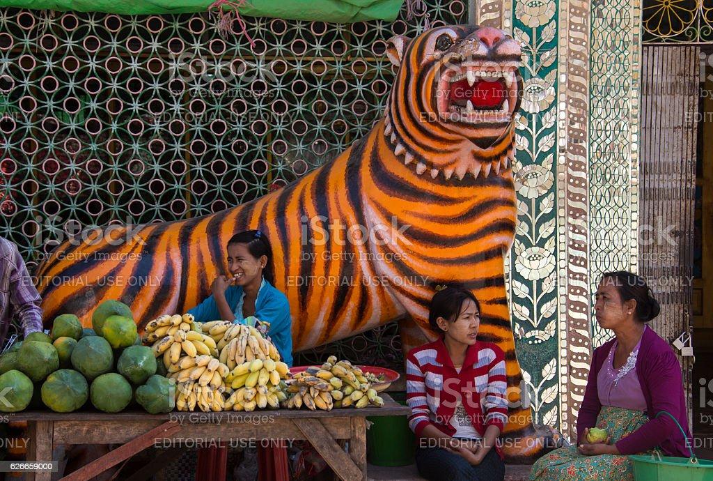 Market stall - Mount Popa - Myanmar stock photo