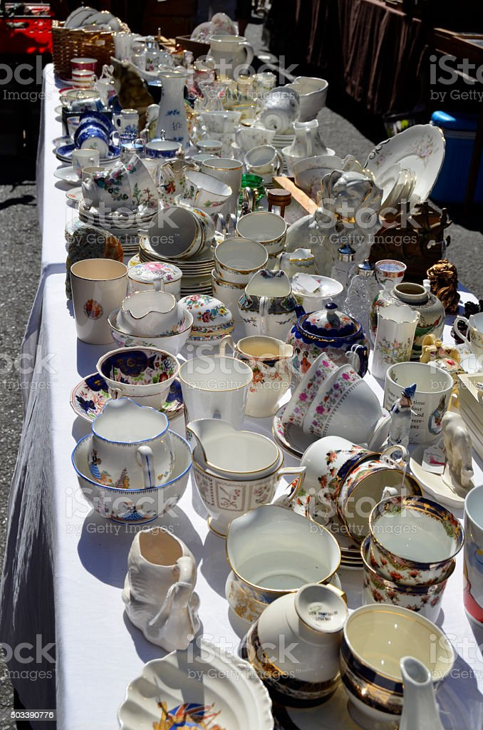 Market Stall of Vintage Crockery Cups and Plates stock photo