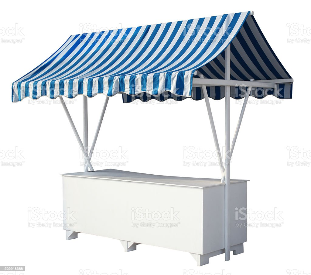 Market stall with awning stock photo