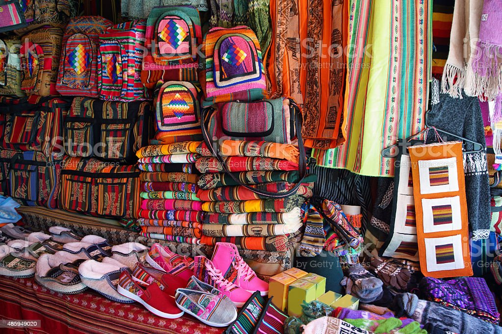 Market stall with colorful indigenous clothes, Argentina stock photo