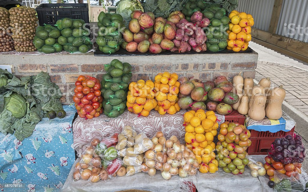 market stall with fresh fruit in african city hazeview royalty-free stock photo