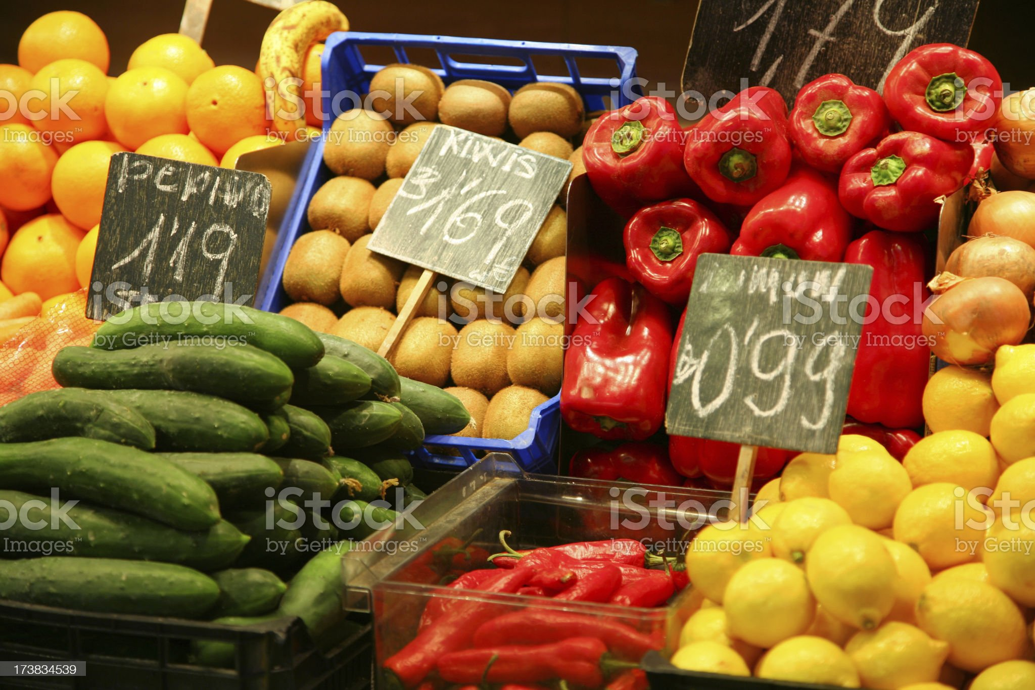 Market stall with fruits and vegetables royalty-free stock photo