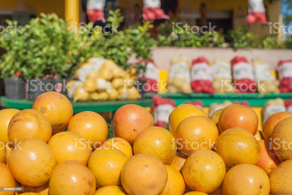 Market stall with oranges stock photo