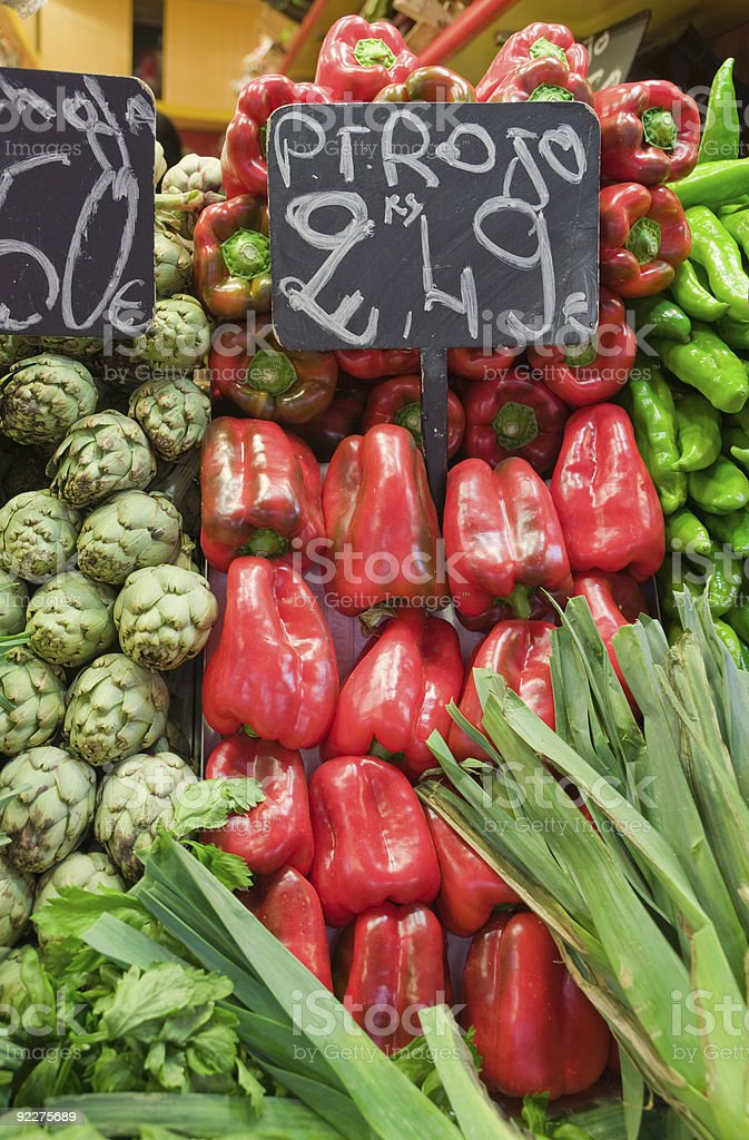 Market stall with peppers and onion royalty-free stock photo