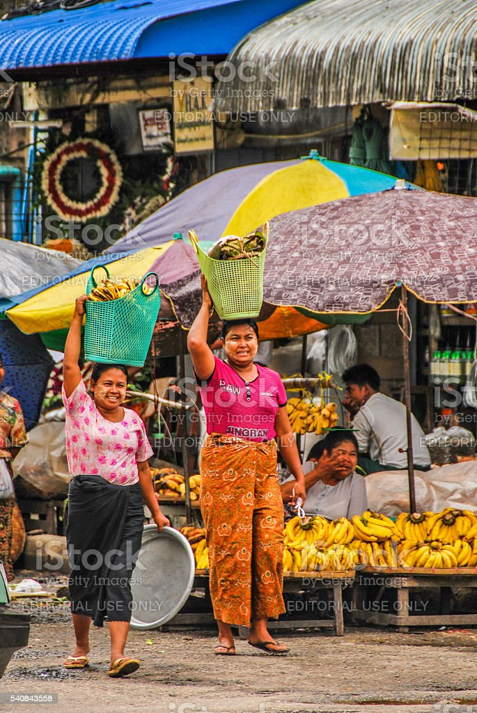 Market stalls at Yangon Downtown stock photo