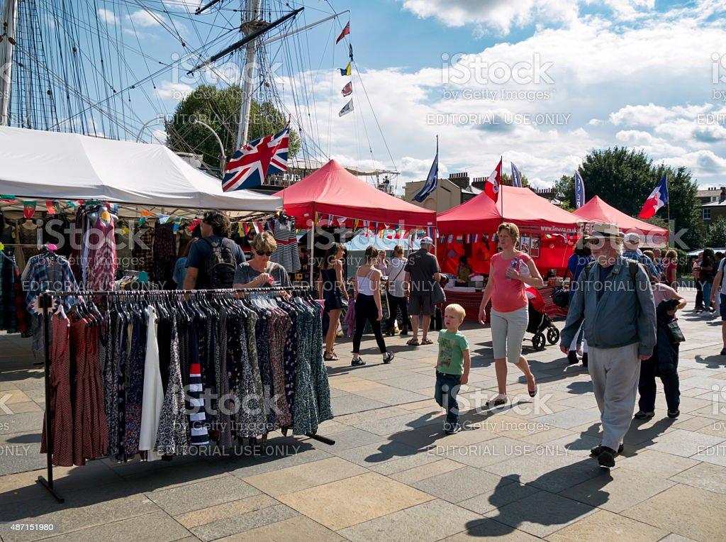 Market stalls beside the Cutty Sark, Greenwich stock photo