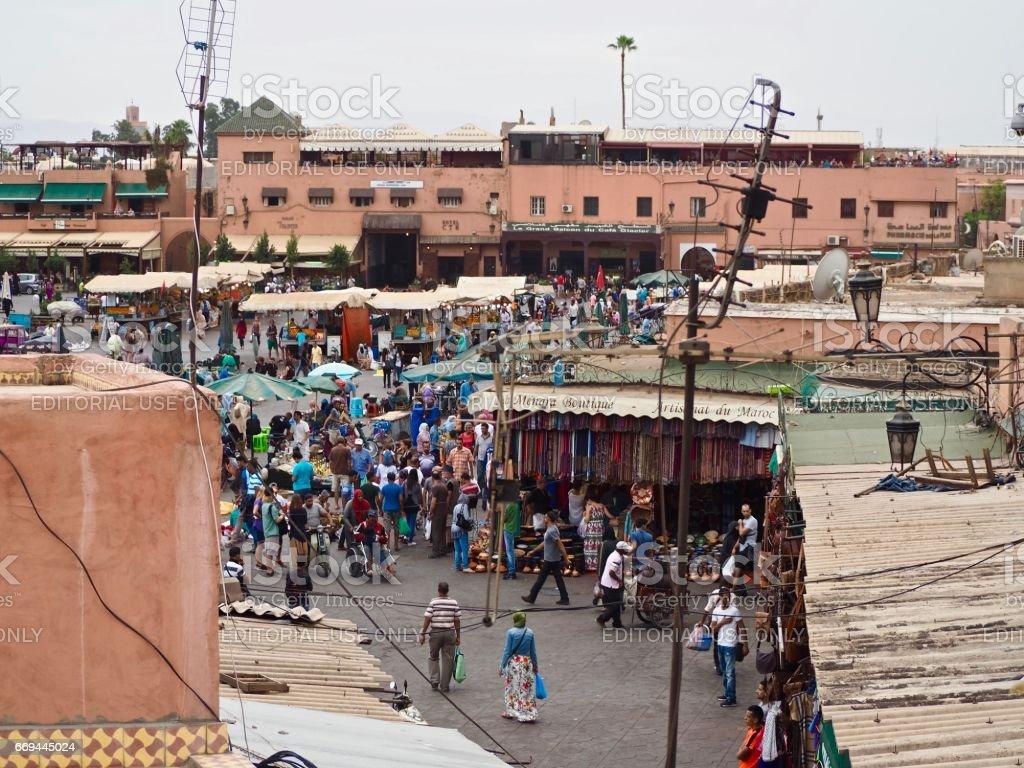 Market stalls in Marrakesh stock photo