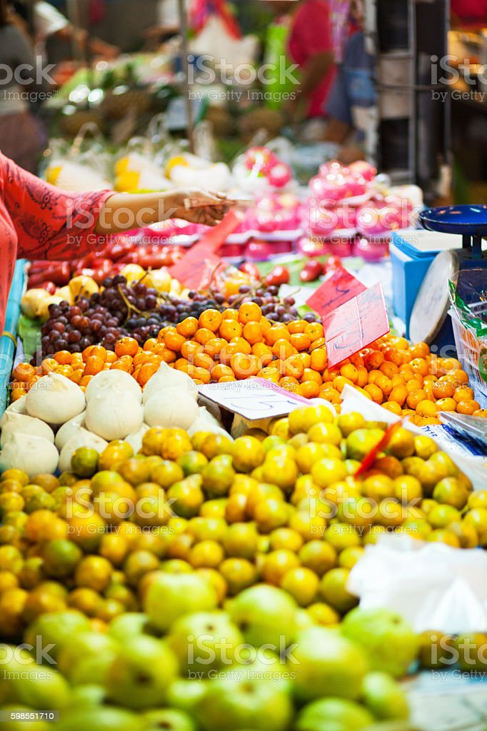 Market stalls with tropical fruits in Bangkok stock photo