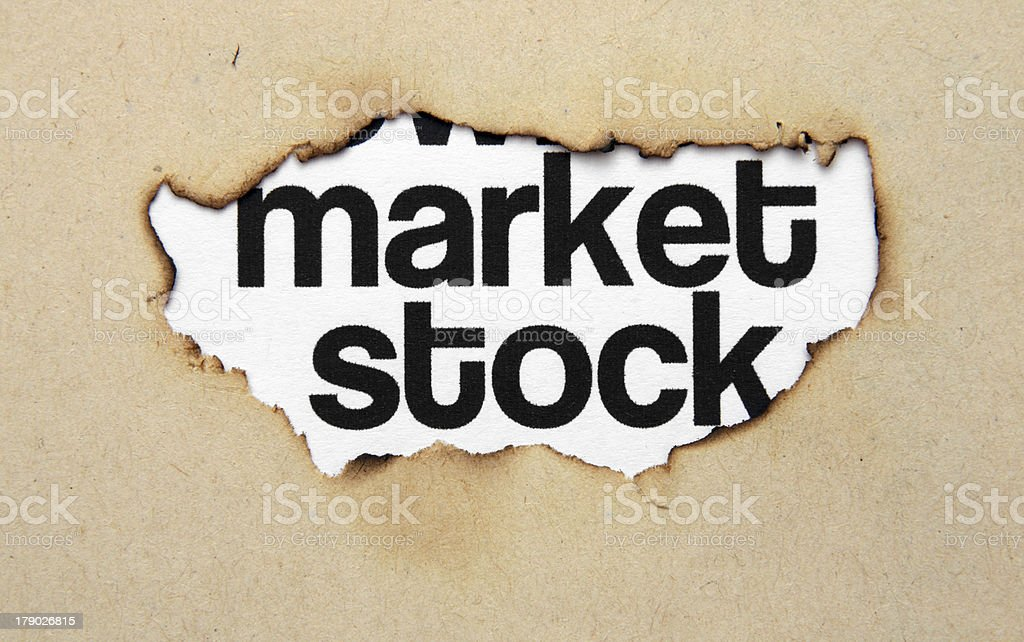 Market stock on paper hole royalty-free stock photo