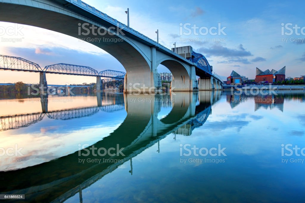 Market Street Bridge and downtown Chattanooga along the Tennessee River stock photo