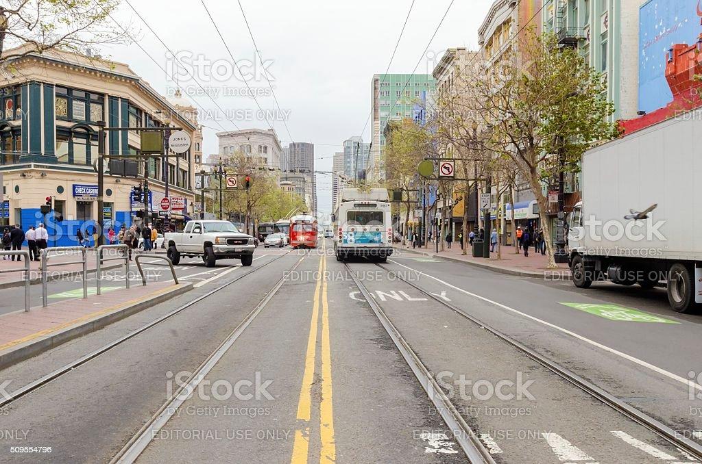 Market street, Downtown San Francisco stock photo