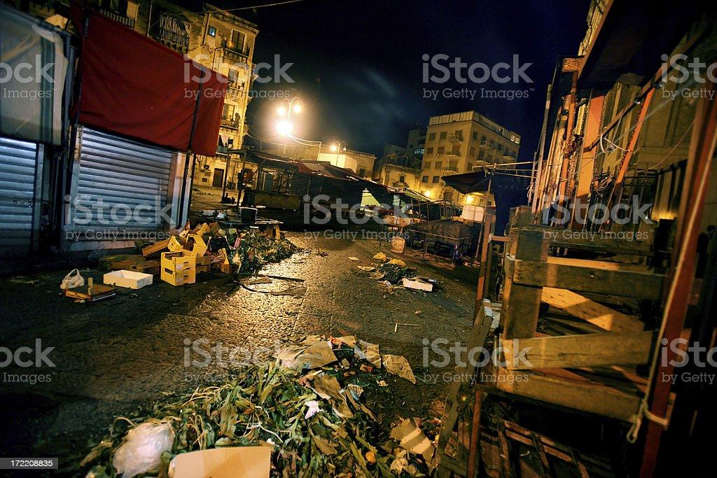 market street nighttime stock photo