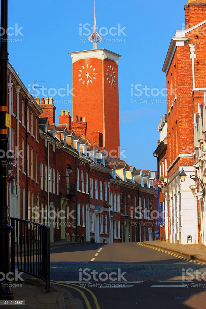 Market tower clock. stock photo