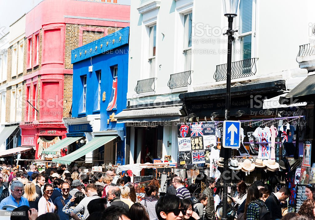 Market Vendors and Crowds, Notting Hill stock photo