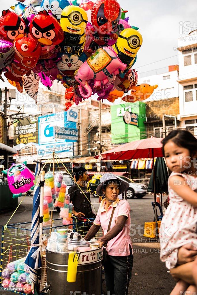 Market Vendors at Warowot Market in Chiang Mai, Thailand stock photo
