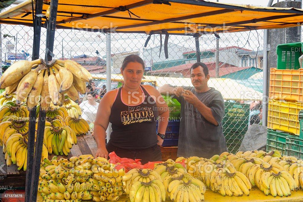 Market Vendors selling bananas in San Jose, Costa Rica royalty-free stock photo