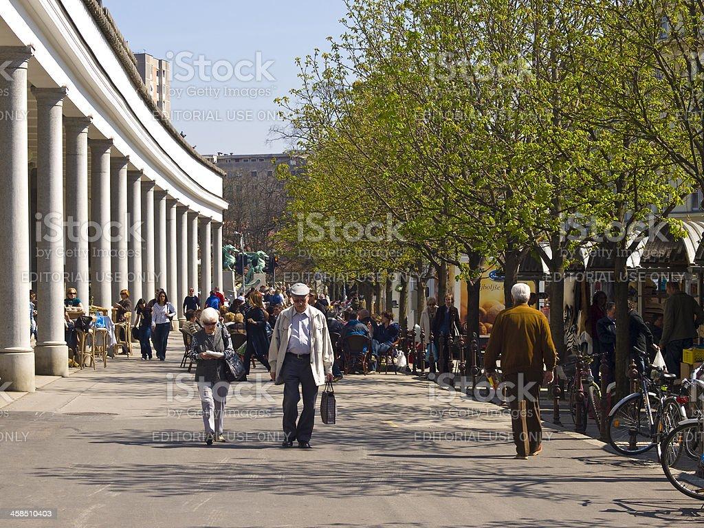Market walk stock photo