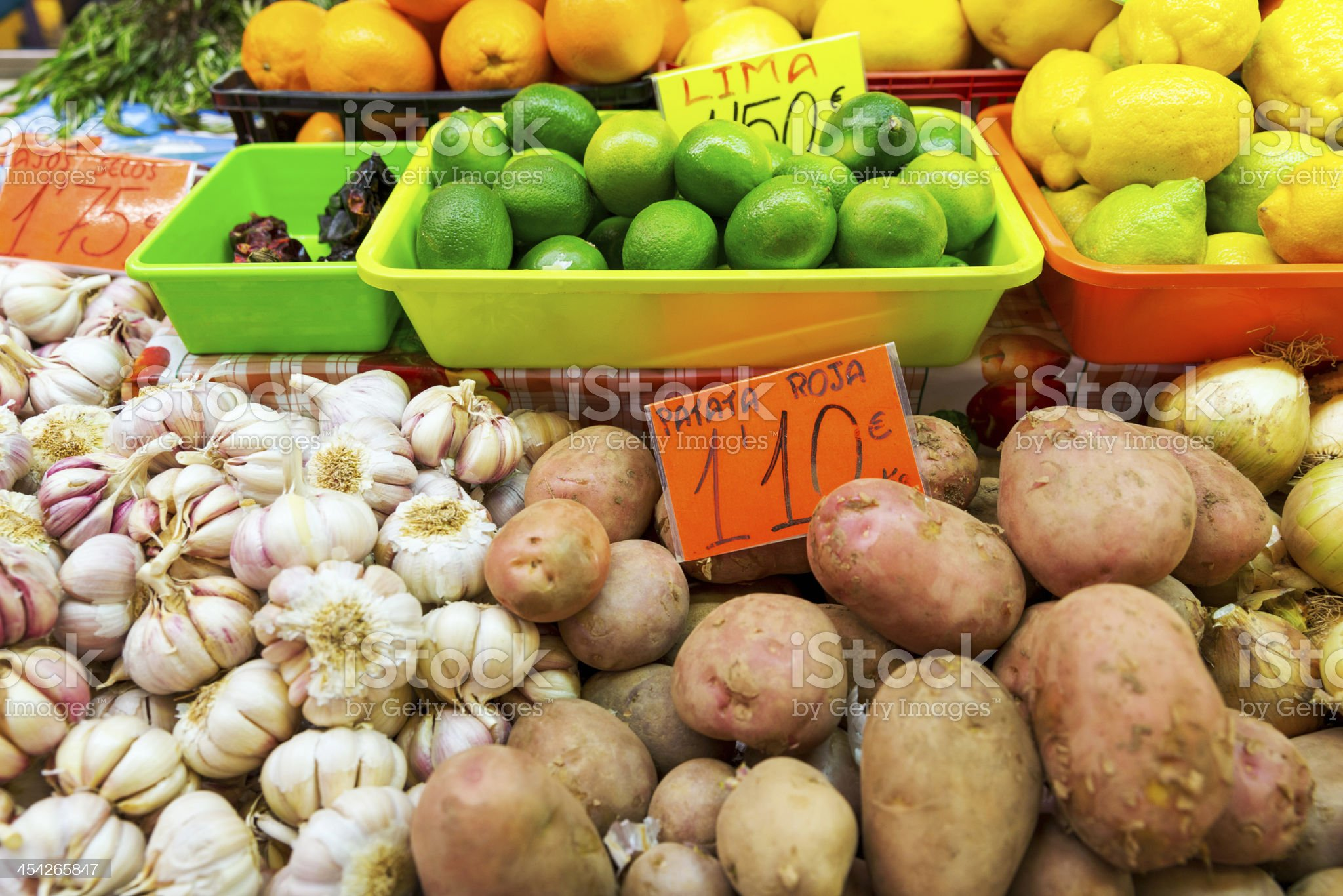 Market with organic fruit and vegetable royalty-free stock photo