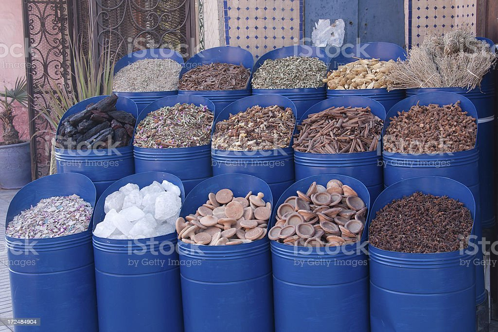 Market with spices in Marrakesh royalty-free stock photo