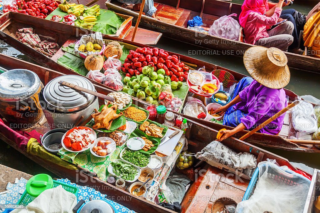 market woman at Damnoen Saduak in Thailand stock photo