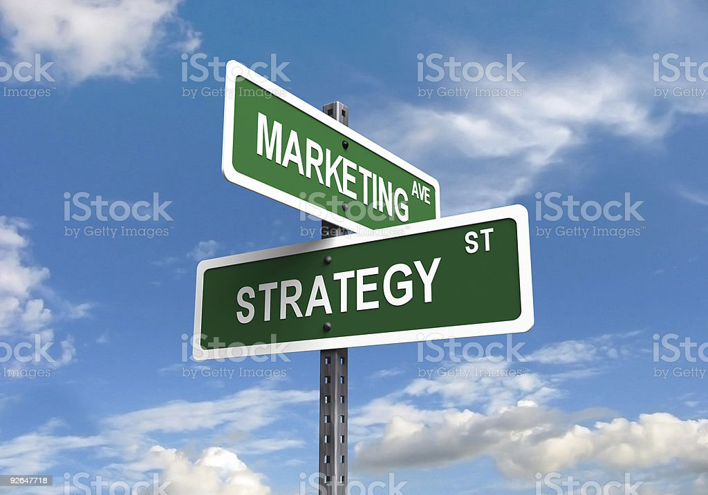Marketing and strategy street signs intersecting royalty-free stock photo