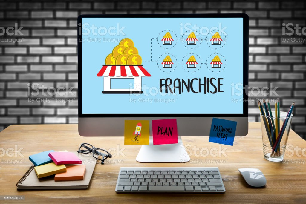 FRANCHISE    Marketing Branding Retail and Business Work Mission stock photo