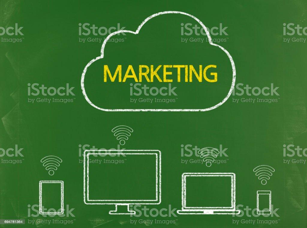 Marketing - Business Chalkboard Background stock photo