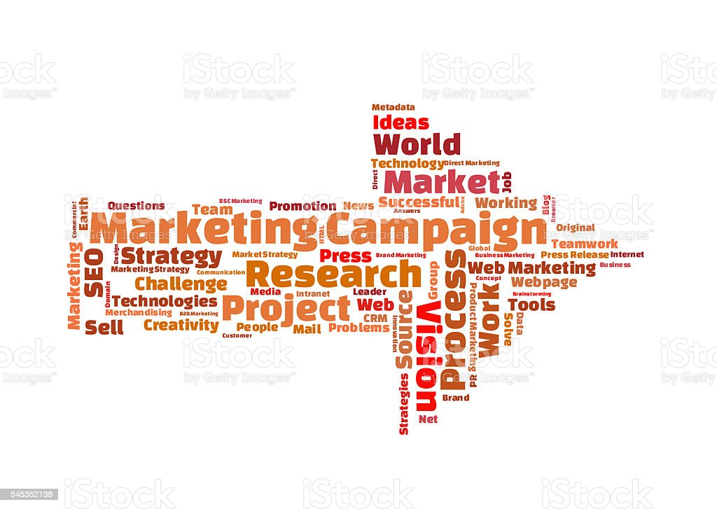 Marketing campaign word cloud stock photo