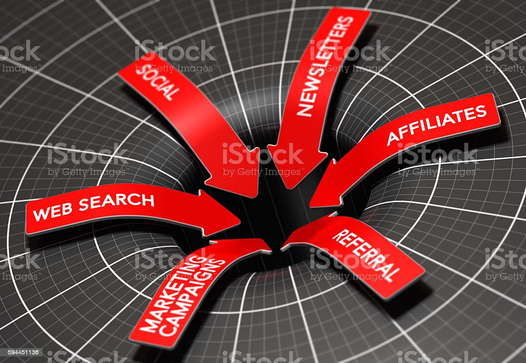 Marketing Channels to Convert Leads Into Sales. stock photo