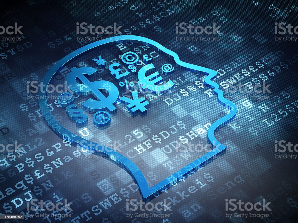 Marketing concept: Blue Finance Symbol on digital background royalty-free stock photo