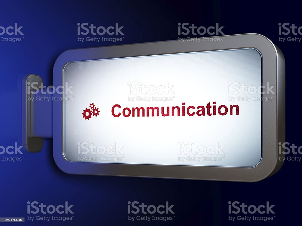 Marketing concept: Communication and Gears on billboard background royalty-free stock photo
