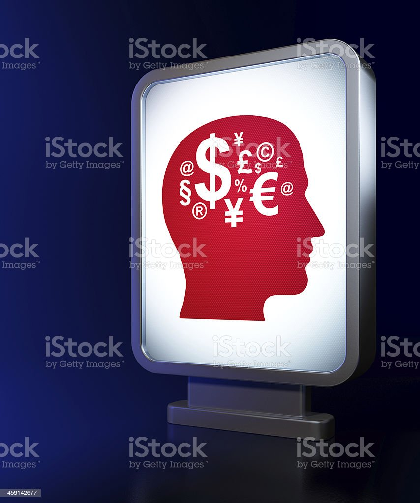 Marketing concept: Head With Finance Symbol on billboard royalty-free stock photo