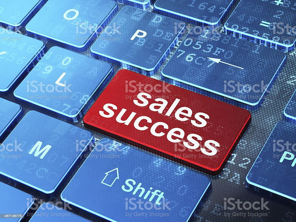 Marketing concept: Sales Success on computer keyboard background royalty-free stock photo