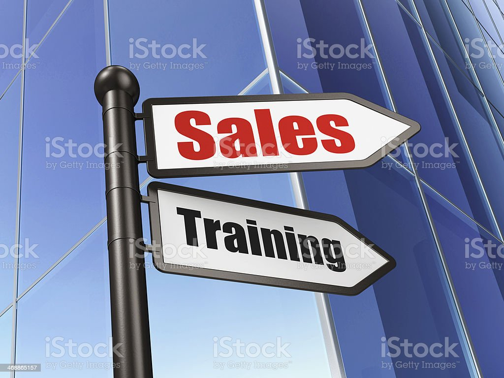 Marketing concept: sign Sales Training on Building background royalty-free stock photo