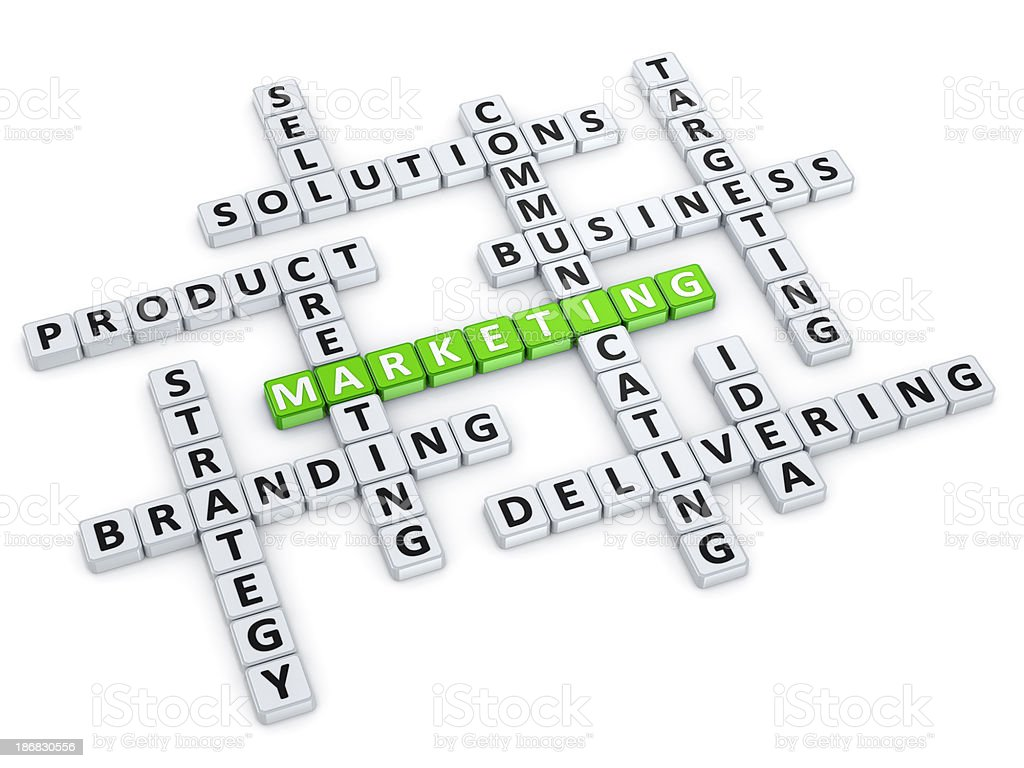 Marketing crossword concept royalty-free stock photo