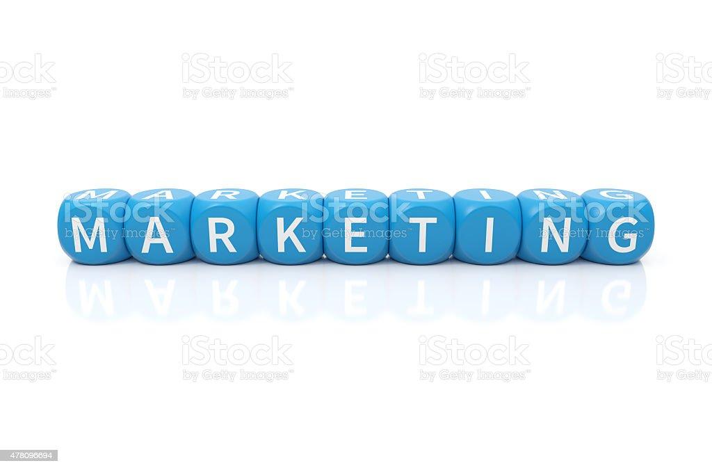 Marketing dices blue stock photo