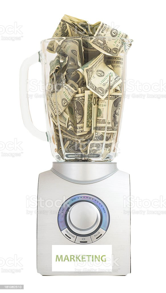 marketing mix - dollars in mixer royalty-free stock photo